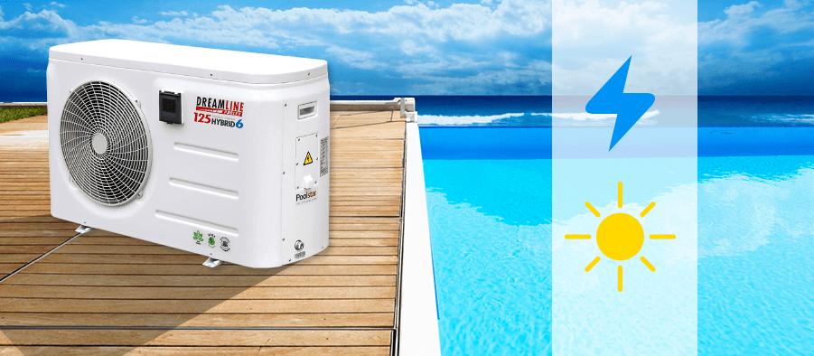 Pompe chaleur piscine dreamline hybrid h125 tri avec for Chauffe piscine express