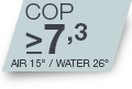COP >7.3 pour Air 15°C/Water 26°C