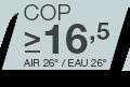 COP >16.5 pour Air 26°C/Eau 26°C